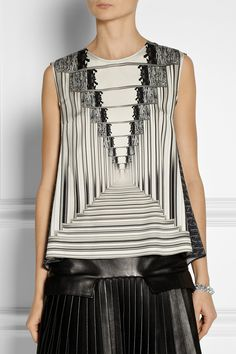 Monochrome illusion print silk top; bold printed pattern fashion // Peter Pilotto