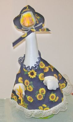 "Navy with sunflowers outfit for 24""-27"" cement or concrete goose or lawn geese by KraftKorner on Etsy"