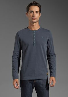 G-STAR Wessun Granddad Long Sleeve Henley in Aeroblue at Revolve Clothing