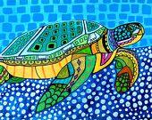 Sea Turtle Folk Art Ocean *