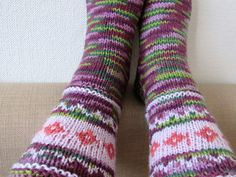 Burgundy socks pink socks apple green socks casual wool socks house socks boots socks autumn winter accessories Nordic ornaments US 8 OOAK New Year gift, Halloween gift, gift for her  These fantastic socks are hand knit from multicolor yarn - blend of wool and acrylic yarn. Excellent gift idea!  MATERIAL: Wool yarn, acrylic yarn SIZE: EUR 38 1/2 (women´s size); US 8  CARE: Hand wash in warm water (35C / 95F) or machine wash up in a wool cycle. Gently squeeze out water, lay flat, st...