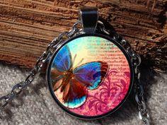 Blue Butterfly Butterfly Butterfly Pendant Butterfly by Aranji