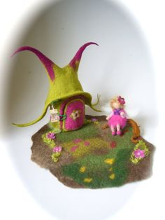 Fairy  House Hand FeltedWaldorf Fairy elf Wet Felted by FilzArts, $85.00