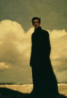 "A haunting figurative portrait entitled: Eclipse by artist: Anne Magill that leaves a question hanging in the air, but what, exactly, or perhaps the glance asks ""Where? Figure Painting, Painting & Drawing, Superflat, L'art Du Portrait, Figurative Kunst, Arte Horror, Traditional Art, Art Inspo, Amazing Art"