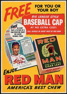 Metal Sign - Enos Slaughter for Red Man Chewing Tobacco - Rusty Look