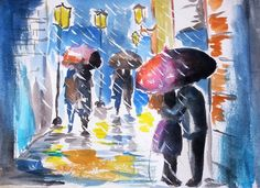 Loose watercolor painting on paper - Paint a rainy day scene featuring a couple kissing under the umbrella - See the video tutorial Watercolor Art Landscape, Watercolor Art Diy, Watercolor Art Paintings, Watercolour Tutorials, Watercolors, Rain Painting, Artist Painting, Jeff Seid, Painting Videos