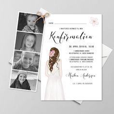 Konfirmationsinvitationer - Få designet din egen skabelon - Se her Coming Of Age, Diy And Crafts, Polaroid Film, Invitations, Party, Inspiration, Confirmation, Design, Flower