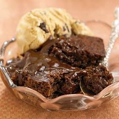 Applesauce substitutes for the cake's butter to keep this chocolate dessert low in calories and fat.