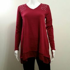 NWOT STYLE&CO Red Embellished Top NWOT STYLE&CO Red Embellished Top Size Small Style&Co  Tops Blouses