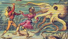 A Monster of the Abyss, from France in the Year 2000 (XXI century) – a series of futuristic pictures by Jean-Marc Côté and other artists issued in France in 1901 and Octopus, The Frankenstein, Sea Monsters, France, Retro Futurism, French Artists, Deep Sea, Deep Blue, What Is Life About