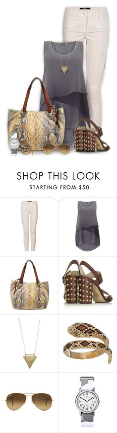 """""""Sunday Morning"""" by mwaldhaus ❤ liked on Polyvore featuring J Brand, Gabor, MICHAEL Michael Kors, Liz Law, Ray-Ban and Timex"""