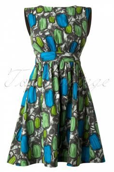 Emily and Fin - Lucy A-line Green Abstract Dress
