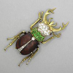 Staghorn beetle with diamond, demantoid garnet - Victorian
