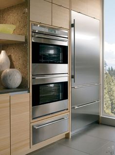 Wolf wall ovens and Sub-Zero refrigerator combo.