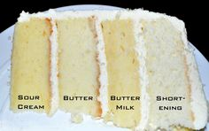 Another cake recipe comparison: K8Memphis' Sour Cream Cake; Cook's Illustrated Butter Cake; Rebecca Rather's Buttermilk Cake; Group Recipes' Shortening Cake
