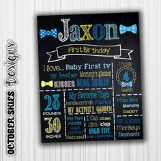 Bow Tie Birthday Chalkboard, Any Age, Sign, Chalkboard, Printable, Chalkboard Poster, Birthday Sign by OctoberSkiesDesigns on Etsy