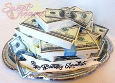 All cake (except the platter of course lol)! Plate of money cake decorated with sugar sheets and marshmallow fondant. From Sweet Dreams Bakery - Tennessee