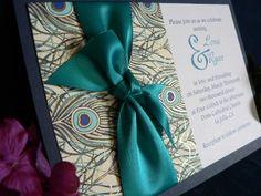 peacock wedding invitations with ribbon