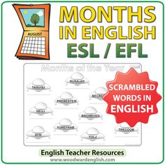 Months of the Year in English Worksheet – UFOs - ESL Teacher Resource