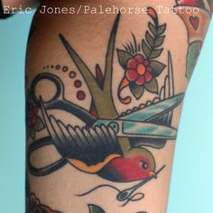nice sewing tattoo with swallow. Maybe better with a hummingbird