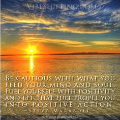 Be cautious with what you feed your mind and soul. Fuel yourself with positivity and let that fuel propel you into positive action. ~Steve Maraboli #inspirational #quotes http://www.facebook.com/VibeShifting