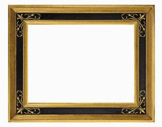 TV Frame  M8030 - ITALIAN: The classic 16th century Italian cassetta frame is elegantly gilded in 22k gold. The beautiful surface underneath the antiqued black panel is revealed by the hand - worked sgraffito scroll pattern in each corner of the frame. Width: 2.75