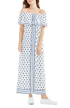 Free shipping and returns on Two by Vince Camuto Paisley Off the Shoulder Maxi Dress at Nordstrom.com. A fluttery drape at the bodice enhances the graceful movement of a shoulder-baring maxi that floats easily about the figure in a bandana-inspired border print.