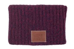 This beanie is knit out of 100% cotton yarn in burgundy and navy colors and features a brown leather patch that is debossed with the Love Your Melon logo. Made in the USA, machine washable, durable. F