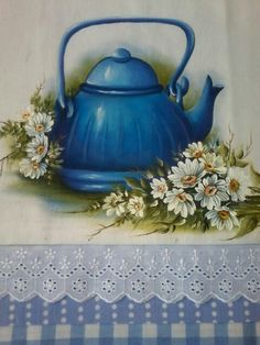 Bule Tole Decorative Paintings, Tole Painting, Fabric Painting, Painting On Wood, Painting & Drawing, Hobbies And Crafts, Diy And Crafts, Holly Hobbie, Pottery Designs