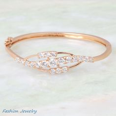 Graceful Best Quality bangles bracelets 18K rose gold plated white cubic zirconia fashion jewelry Flower bangles for women B262 $7.00