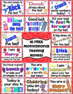 FREE Test Prep Motivational Notes: Give your students a boost before testing with these fun testing notes! School Gifts, Student Gifts, Staff Gifts, School Stuff, Testing Treats For Students, Words Of Encouragement For Kids, Star Test, Candy Notes, Terra Nova