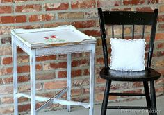 White Stenciled Table-Love It And Leave It