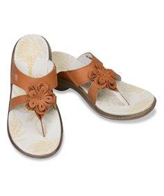 54ae3c90c1bb8 Tan Rose Leather Sandal - Women Flats
