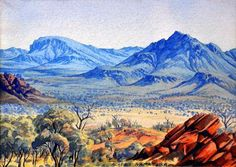 "Artwork by Albert Namatjira, ""Aranda Landscape, MacDonnell Ranges"", Made of Watercolour Aboriginal Artwork, Aboriginal Artists, Australian Painting, Australian Artists, Kunst Der Aborigines, Aboriginal Culture, Indigenous Art, Art Auction, Landscape Paintings"