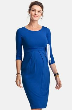 Cobalt Blue Isabella Oliver Maternity 3/4 Sleeve Pleated Waist Maternity Dress (Size 3 - Like New) - Motherhood Closet - Maternity Consignment