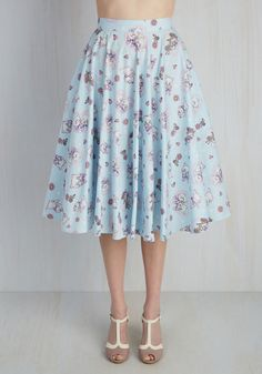 Crush on Kawaii Skirt in Sky Blue. If you adore mixing the ultra-cute with the totally timeless, then this baby blue midi skirt is for mew! #blue #modcloth