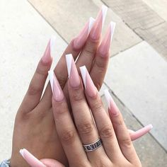 French Acrylic Nails, Simple Acrylic Nails, Square Acrylic Nails, Pink Acrylic Nails, Acrylic Nail Designs, Nail Art Designs, Long French Nails, Nails Now, Gel Nails