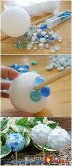Store Garden Crafts Create beautiful garden gazing stones from dollar store finds. Use glass marbles, Styrofoam balls, chop sticks and silicone to create lovely focal points for your garden. Garden Crafts, Diy Garden Decor, Garden Ideas, Garden Whimsy, Garden Junk, Herbs Garden, Patio Ideas, Vegetable Garden, Styrofoam Ball Crafts