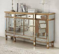 gold trim mirrored nightstand photo - 1