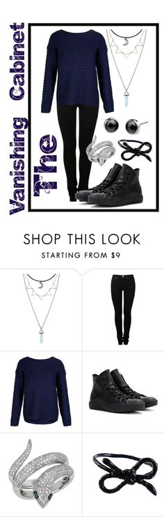 """The Vanishing Cabinet"" by starkandspooky ❤ liked on Polyvore featuring MM6 Maison Margiela, New Look, Converse, Effy Jewelry and Areaware"
