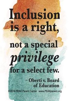 Graphic that quotes the ruling in Oberti v Board of Ed Inclusion is a right, not a special privilege