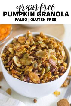 Pumpkin grain free granola is your next easy, gluten free and paleo breakfast for fall! Made with nuts, seeds, coconut and pumpkin spice, this healthy breakfast recipe will start your day with a crunch. #granola #grainfree #healthybreakfast #paleobreakfast #healthygranola #pumpkin #fallrecipe #pumpkingranola