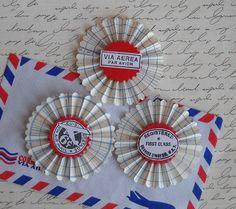 vintage ledger paper rosettes Air Mail set of 3 by jardindepapier
