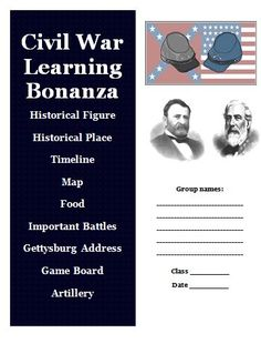 Creative Social Studies Activities from the Revolutionary War to the Civil War. Great for grades 5 and up! $