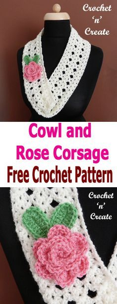 Crochet cowl-rose corsage, FREE crochet pattern for cowl and rose motif. #crochetncreate #crochetflowers #crochetcowl