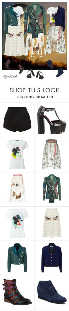 """The chicken dance at dusk..."" by ravenleeart ❤ liked on Polyvore featuring Proenza Schouler, Iron Fist, Stella Jean, Etro, Balmain, Rebecca Minkoff and L'Artiste by Spring Step"