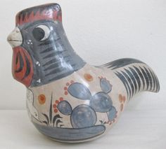 Vintage Tonala  Pottery Rooster, Mexico, Large size