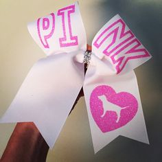 PINK Big White Cheer Bow Glitter Letters Love Pink heart dog by TalkToTheBow on Etsy https://www.etsy.com/listing/217348948/pink-big-white-cheer-bow-glitter-letters