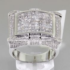 3.4 TCW Unique Mens Diamond Pinky Ring in White Gold #DiamondsByAl #Signet
