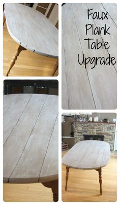For $46 you can update any table by creating faux planks! This white washed look is lovely! (scheduled via http://www.tailwindapp.com?utm_source=pinterest&utm_medium=twpin&utm_content=post520133&utm_campaign=scheduler_attribution)